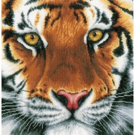 519327 LanArte Tiger On Aida Counted Cross Stitch Kit