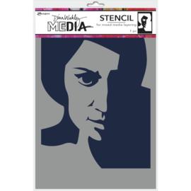 "MDS 74861 Dina Wakley Media Stencils Pensive Face 9""X6"""