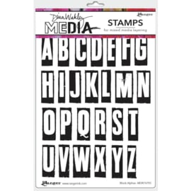 "MDR 74793 Dina Wakley Media Cling Stamps Block Alphas 6""X9"""