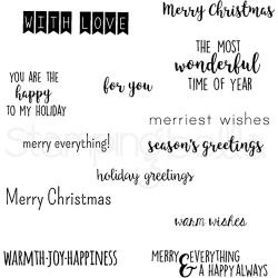 256887 Stamping Bella Cling Stamps Winter Holiday Sentiment Set