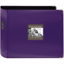 "063223 Sewn Leatherette 3-Ring Binder 12""X12"" Bright Purple"