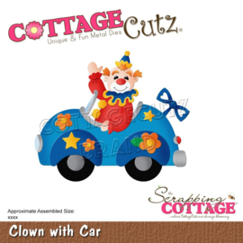 """CC864 CottageCutz Dies Clown With Car 3.3""""X2.8"""""""