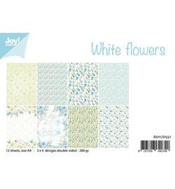 6011/0551 Papier Set White Flowers A4