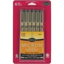 194119 Pigma Micron Pens 08 .5mm  Black 6 stuks