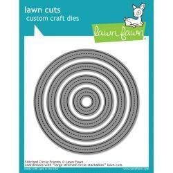 LF1141 Lawn Cuts Custom Craft Border Die Stitched Circle Frames