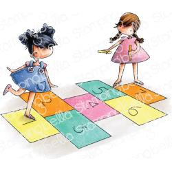 584740 Stamping Bella Cling Stamps Tiny Townies Playing Hopscotch
