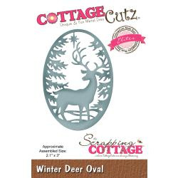 "540424 CottageCutz Elites Die Winter Deer Oval 2.1""X3"""