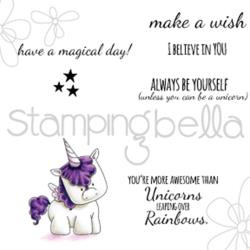 "371122 Stamping Bella Cling Stamp Unicorn Sentiments 6.5""X4.5"""