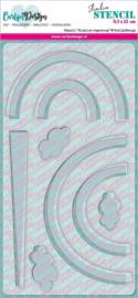 CDSC-0012 CarlijnDesign Stencil Slimline Regenboog