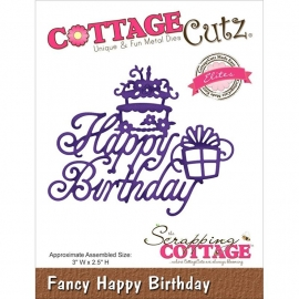 "529701 CottageCutz Elites Die Fancy Happy Birthday, 3""X2.5"""