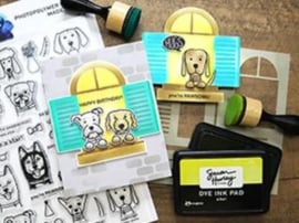 """617500 Simon Hurley create Cling Stamps  Puppy Pals 6""""X9"""""""