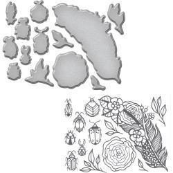 SDS061 Spellbinders Stamp & Die Set Feather & Beetles
