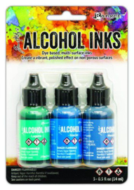 TAK69669 Ranger Alcohol Ink Ink Kits Teal/Blue Spectrum