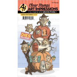 605201 Art Impressions Critter Cubbies Clear Stamp & Die Set Autumn Owl