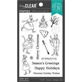"""664546 Hero Arts Clear Stamps Victorian Ice Skaters 4""""X6"""""""