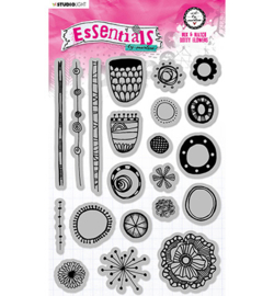 STAMPBM71 StudioLight BM Cling Stamp Mix & Match Dotty flowers Essentials nr. 71