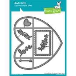 LF1298 Lawn Cuts Custom Craft Die Stitched Heart Envelope