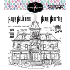 "C3BB259 Colorado Craft Company Clear Stamps Haunted House-Big & Bold 6""X6"""