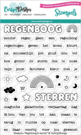 CDST-0062 CarlijnDesign Stempels Regenboog & Sterren