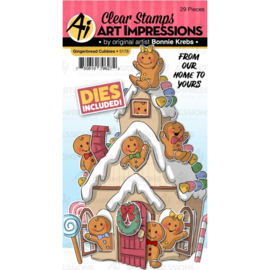 605200 Art Impressions Critter Cubbies Clear Stamp & Die Set Gingerbread