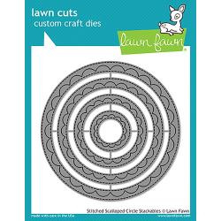 LF1504 Lawn Cuts Custom Craft Dies Outside In Stitched Scalloped Circle