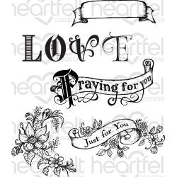 290972 HCPC3803 Heartfelt Creations Cling Rubber Stamp Set Heartfelt Love-Banners Of Love