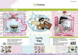 118040/0206 CraftEmotions Paper stack Lovely Baby 11 vel A4