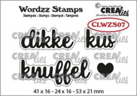 CLWZS07 Crealies Clearstamp Wordzz Dikke kus