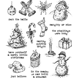 CMS -LG 318 Tim Holtz Cling Stamps Tattered Christmas