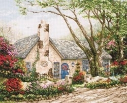 480289 Borduurpakket Thomas Kinkade Morning Glory Cottage