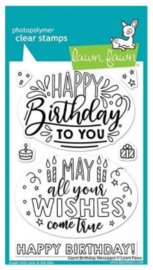 """LF2599 Lawn Fawn Clear Stamps Giant Birthday Messages 4""""X6"""""""