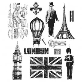 CMS-LG 160 Tim Holtz Cling Stamps Paris To London