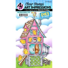 658923 Art Impressions Critter Cubbies Clear Stamp & Die Set Hen House Cubbies
