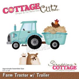 "CC897 CottageCutz Dies Farm Tractor W/Trailer 3.7""X1.8"""