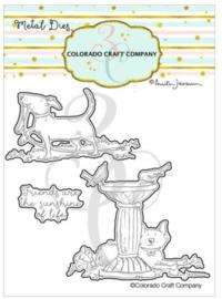C3AJ548D Colorado Craft Company Metal Die Set Birdbath Friends-By Anita Jeram