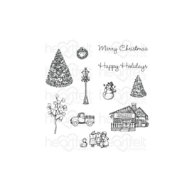 HCPC3921 Heartfelt Creations Cling Rubber Stamp Set Festive Winterscapes
