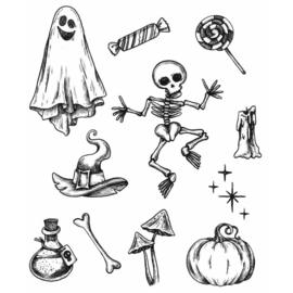 "CMS437 Tim Holtz Cling Stamps Halloween Doodles 7""X8.5"""