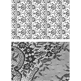 "542939 Tim Holtz Cling Stamps Ornate & Lace 7""X8.5"""