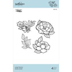 SBS189 Spellbinders Cling Stamps Large Peonies By Stephanie Low