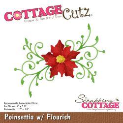 """540410 CottageCutz Die Poinsettia W/Flourish 1.7"""" To 4"""""""