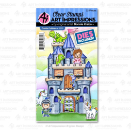 623295 Art Impressions Critter Cubbies Clear Stamp & Die Set Castle
