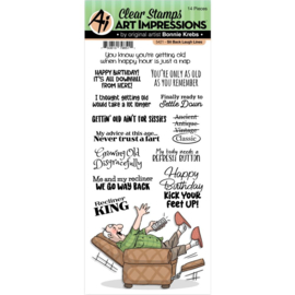 658958 Art Impressions Laugh Lines Clear Stamp Sit Back