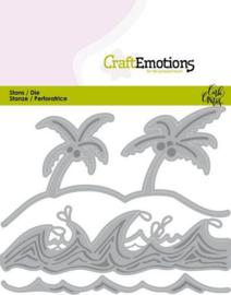 115633/0436 CraftEmotions Die - Ocean - palmen strand golven Card 11x9cm Carla Creaties
