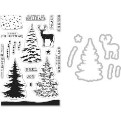 201626 Hero Arts Clear Stamp & Die Snowy Tree