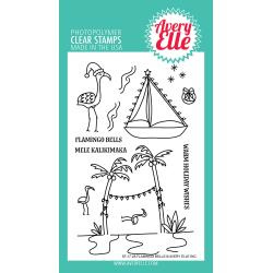 "106320 Avery Elle Clear Stamp Set Flamingo Bells 4""X6"""