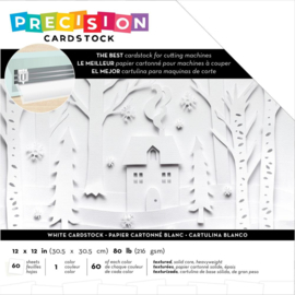 """AC354131 American Crafts Precision Cardstock Pack 80lb White/Textured 12""""X12"""" 60/Pkg"""