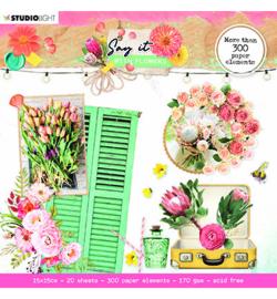 SL-SWF-DCB667 StudioLight SL Die cut block Paper Elements Say it with flowers nr.667