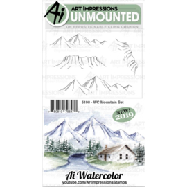 605093 Art Impressions Bible Journaling Watercolor Rubber Stamps WC Mountain