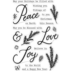 "554298 Hero Arts Clear Stamps Peace, Love & Joy 4""X6"""