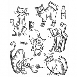 CMS 251 Tim Holtz Cling Stamps Crazy Cats